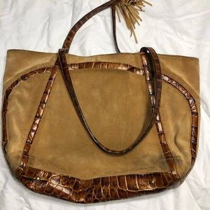 Brahmin Dark Tan Suede & Snakeskin leather base
